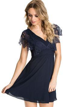 Blue V-Neck Lace Chiffon Skater Dress - OASAP.com