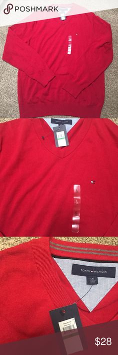 Tommy Hilfiger Men's Vneck Sweater NEW NEW red V neck men's sweater. Size Large. Small very tiny snag on neck see picture but not noticeable. Tommy Hilfiger. As is . Tommy Hilfiger Sweaters V-Neck
