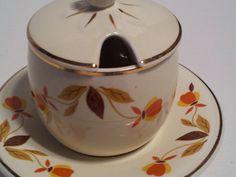 Vintage Orange Brown Jewel Tea Autumn Leaf Hall