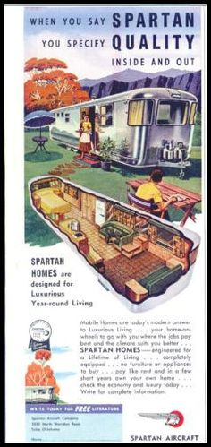Fabulous color ad for the 1953 Airstream Spartan travel trailer. Retro Campers, Camper Trailers, Vintage Campers, Vintage Airstream, Retro Trailers, Airstream Interior, Rv Campers, Retro Rv, Vintage Motorhome