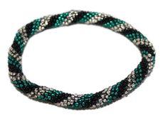 Glass Bracelet Nepal Bracelet Roll on Bracelet Crochet Bracelet Glass Bead Bracelet Friendship Bracelet 346
