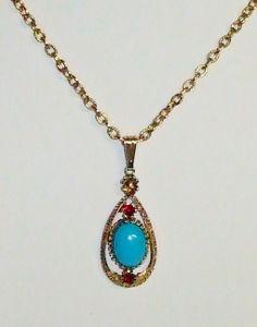 Vintage Red Rhinestone & Blue Cabochon by acolourfulpast on Etsy, $16.86