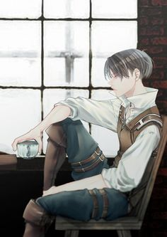 Drinking some tea. Do you often drink tea? Gato Anime, Manga Anime, Anime Art, Eren E Levi, Levi And Erwin, Ereri, Levihan, Kuroko, Chibi