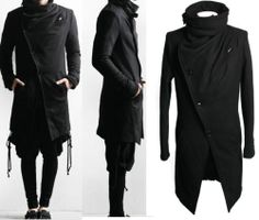 MENS INDIE UNIQUE goth gangnam rare style AVANT GARDE UNBALANCE STRING LONG Coat