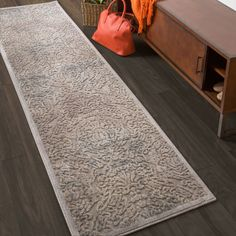 Nourison Graphic Illusions Grey Antique Damask Pattern Rug (2'3 X 8') - Overstock Shopping - Great Deals on Nourison Runner Rugs