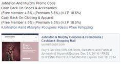 Johnston And Murphy Promo Code Cash Back On Shoes & Accessories: (Free Member 4.5%) (Premium 8.5%) (V.I.P 10.5%) Cash Back On Clothing & Apparel:  http://bit.ly/johnston-murphy-coupon #Johnston #and #Murphy #coupons #deals #free #shipping