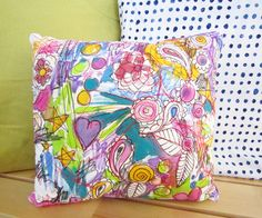 free form hand painted and quilted pillow