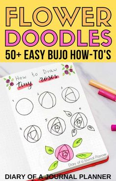 Make your bullet journal pages look incredible with these 50  STUNNING flower themed bujo doodle tutorials! #flowerdoodle #doodle #bulletjournaldoodles #bujo #planneraddict #howtodraw Easy Doodles Drawings, Easy Doodle Art, Cool Doodles, Simple Doodles, Doodle Ideas, Bullet Journal Themes, Bullet Journal Inspiration, Flower Drawing Tutorials, Drawing Ideas