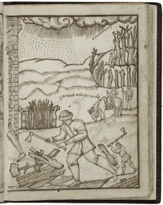 February (48r) Fella eschewed the classical architecture and elaborate landscapes shown in the background of the woodcuts. He generally avoided complex perspective in his drawings, but he also replaced some buildings with more local examples, giving a more homely feeling to his pictures.