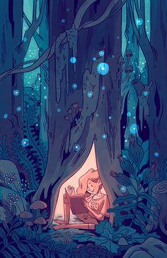 Corey Egbert is a graphic designer, illustrator, author and artist. Pretty Art, Cute Art, Forest Art, Magical Forest, Arte Indie, Forest Illustration, Fantasy Illustration, Cartoon Art Styles, Character Design Inspiration