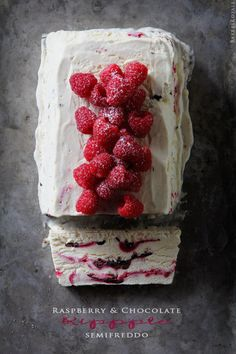 Raspberry & Chocolate Ripple Semifreddo (basically a no-churn ice cream type of recipe)