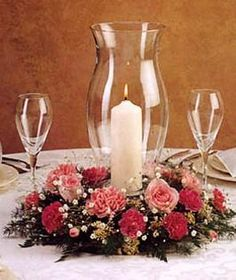 Hurricane Vase Centerpieces | Hurricane Centerpieces - Long Island Weddings