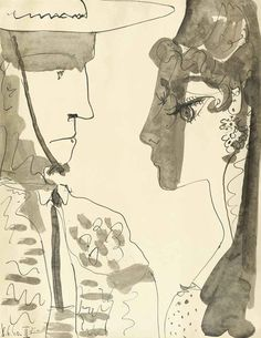 blastedheath:  Pablo Picasso (Spanish, 1881-1973), Picador et femme, 8 June 1960. Pen and brush and India ink and wash on paper, 66 x 51 cm....