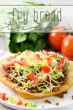 Change up your boring dinner routine with this easy recipe for Fry Bread Tacos (aka Navajo Tacos). A quick and simple bread dough is quickly fried and then topped with your favorite taco toppings!