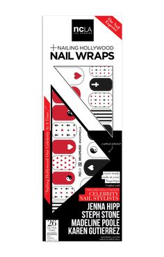 Brillapalooza - Bold striped red, black, and white  accent nail wraps designed by Hollywood manicurist gurus