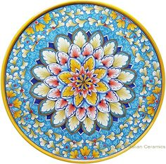 Italian Majolica Ceramic Cheese Plate - (1.5cm high x 30cm diameter) 3/4 in high x 12 in diameter
