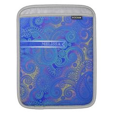 Paisley w/Ribbon Blue iPad Sleeve
