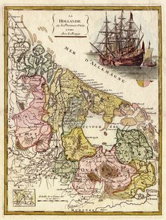 Kaart van Nederland in 1748 - La Hollande 1748 - Le Rouge