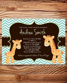 Giraffe Baby shower Invitation Girl, Boy, Chevron Stripes,  Baby Shower Invite Giraffe, Baby Shower Invitation, Purple, Blue. $18.00, via Etsy.