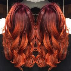 red ombre hair orange - All For Hair Color Trending Bright Copper Hair, Bright Hair, Orange Ombre Hair, Orange Red, Cheveux Oranges, Twisted Hair, Braided Hair, Natural Hair Styles, Long Hair Styles