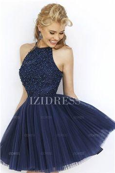 Duchesse-Linie Juwel-Ausschnitt Kurz/Mini Tülle Abiballkleider