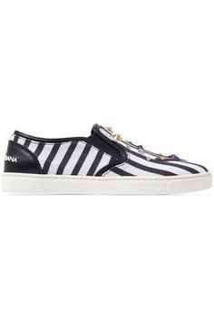 Dolce   Gabbana - Embellished striped textured-leather slip-on sneakers 2e7703f28