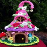 This is a new handmade crochet Fairy/ Gnome house made with acrylic yards. It is decorated on all sides and stands approx. This house is Crochet Food, Crochet Gifts, Knit Crochet, Amigurumi Doll, Amigurumi Patterns, Crochet Patterns, Crochet Fairy, Crochet Dolls, Knitting Projects