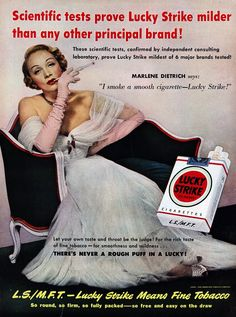 But for those of use who live in the new era of the tobacco advertising ban it is easy to forget the cynicism and shamelessness of tobacco marketing in the golden era of the 30's 40's and 50's. Below is a selection of some of the very worst, taken from the extensive collection lovingly archived by the Stanford School of Medicine.