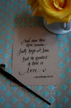 Faith, Hope and Love Calligraphy Print by design roots