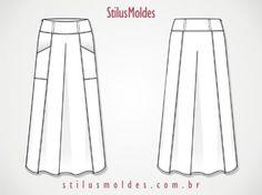 molde de saia longa com bolso