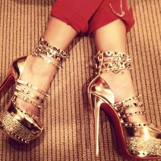 Christian Louboutin Gold Spiked platforms :)