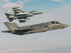New and the old! F-35 Lighting II and F-16 Falcon