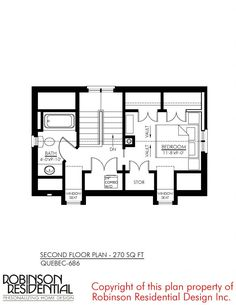 Quebec-686 - Robinson Plans Little House Plans, Small House Plans, French Cottage, Cozy Cottage, Quebec, Stair Plan, Stair Landing, Room Planning, Under Stairs
