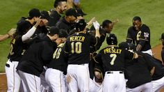 Miami Marlins at Pittsburgh Pirates 8/6/2013 - W 4-3 The Pittsburgh Pirates celebrate against the Miami Marlins at PNC Park in Pittsburgh, Pennsylvania.