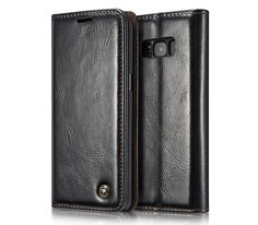 CaseMe Samsung Galaxy S8 Plus Business Style Magnetic Flip Wallet Case Black
