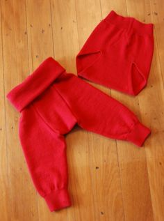Up-cycled wool longies and cover