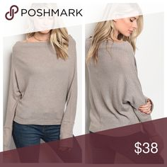 PreOrder Taupe Waffle Knit Top Long extended sleeves taupe Waffle Knit top. Fabric Content: 62% POLYESTER 34% RAYON 4% SPANDEX Tops