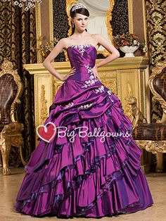 Purple Princess Sweetheart Taffeta Beaded Full Length Ball Gown - US$ 213.99 - Style BG0447 - BigBallGowns