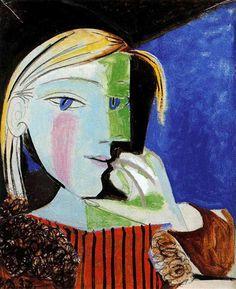 Portrait of Marie-Thérèse Walter  - Artist: Pablo Picasso Completion Date: 1937 Style: Surrealism Period: Neoclassicist & Surrealist Period Genre: portrait Tags: female-portraits, Marie-Thérèse Walter