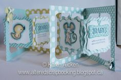 Karen Aicken using the Pop it Ups Fancy Accordion Album die plus Fancy Frame Edgers by Karen Burniston for Elizabeth Craft Designs - Altered Scrapbooking: Two Baby Boy Accordion Cards
