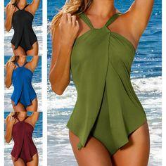 Women Beachwear Halter Bathing Suit Plus Size Slim Jumpsuit One-Piece Swimwear
