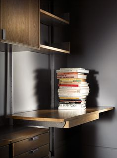 As4 Modular Shelving System, Detail Of Solid Hardwood Desk Surface With  Pencil Drawer Below