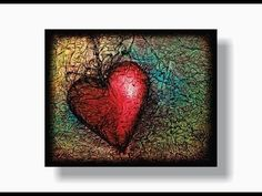 How to PAINT a HEART with TISSUE PAPER TEXTURE - YouTube