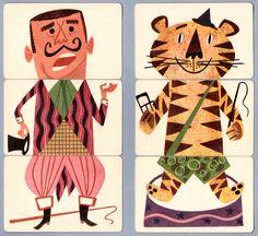 Mixies #grafica #illustrazione #animali #tigre #carte #vintage