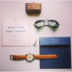 Wedding Tings #weddingtings #weddingthings #mrandmrs #nycweddings #ollistudio #nycweddingphotography #awardwinning #photojournalistic #raybans #leatherwristwatch #weddinginvite #weddinginvitation #cufflinks