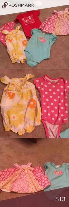 3-6 month baby bundle! Sizes range from 3 to 3-9 months. It all fit like 3-6 months pink dress is adorable with little bloomers under it all in good used condition. Brands range from nursery rhyme, Bonnie baby, carters and the red and pink onesies are from Walmart Bonnie Baby One Pieces