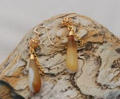 Drops of Golden Agate Earrings by OnlyOneJewelryDesign on Etsy, $33.00