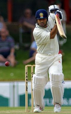 Tendulkar is pictured batting during the first Test at Goodyear Park, Bloemfontein in the 2001 series against South Africa.