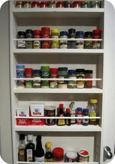 spice rack behind the pantry door- 25 Best Ways to Organize Spices (Storage Solution)
