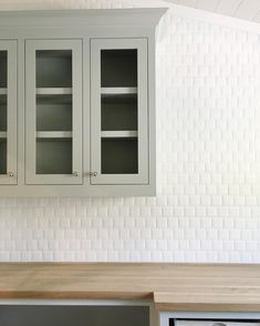 White tile and gray cabinets | Shop more at www.studio-mcgee.com